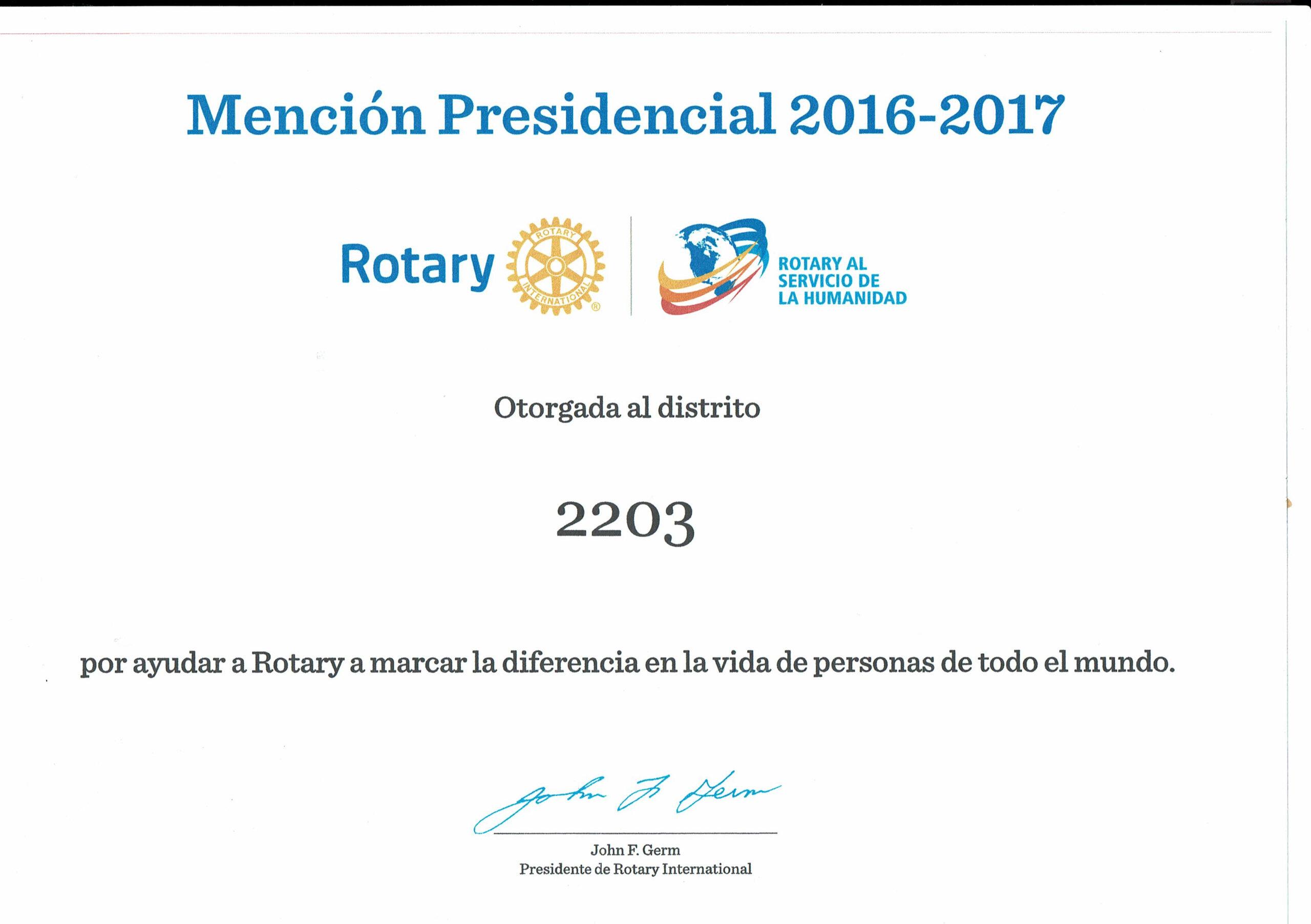 Mención Presidencial al distrito 2203
