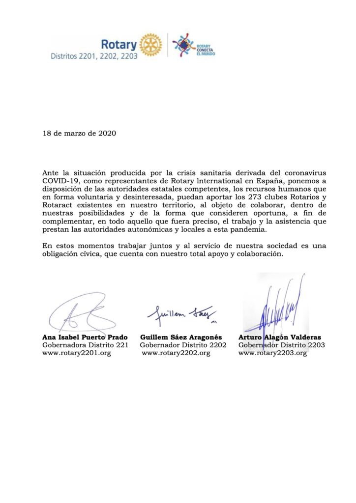 Carta tir-distrital al gobierno de españa